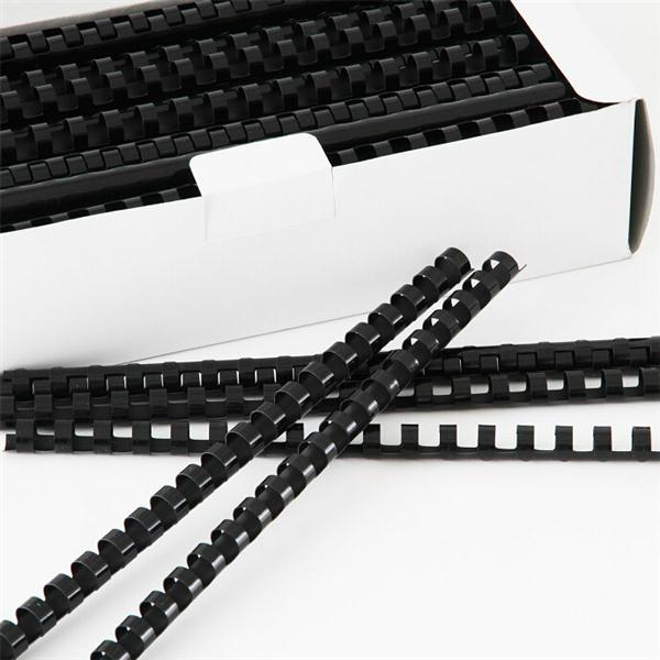 得力 3833 21孔装订胶圈 6mm 100支/盒 黑