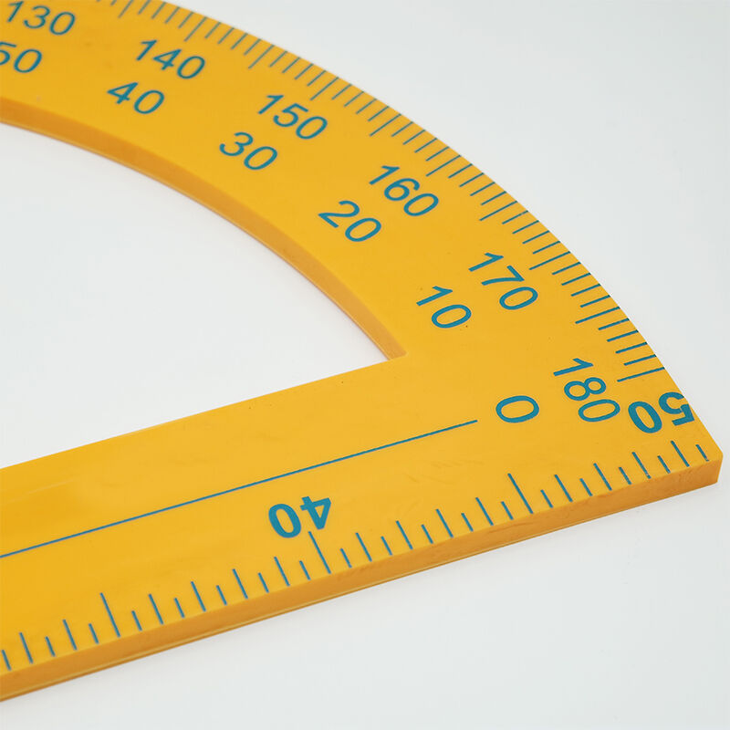 > 领先 教学量角器 黄色半圆塑料量角器 小学数学半圆仪学生学习用品