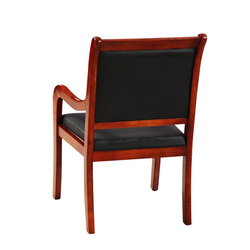 领先 木质 办公家具会议椅 实木办公椅子四脚椅带扶手会客椅 实木脚