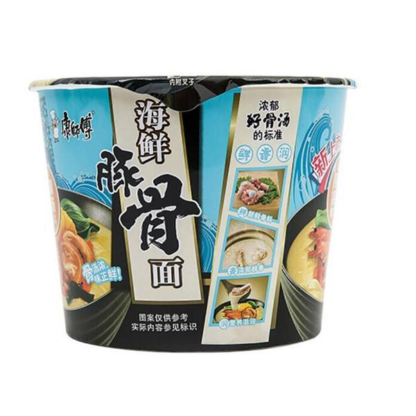 康师傅方便面 海鲜豚骨桶面 12桶/箱 净含量:1.2kg