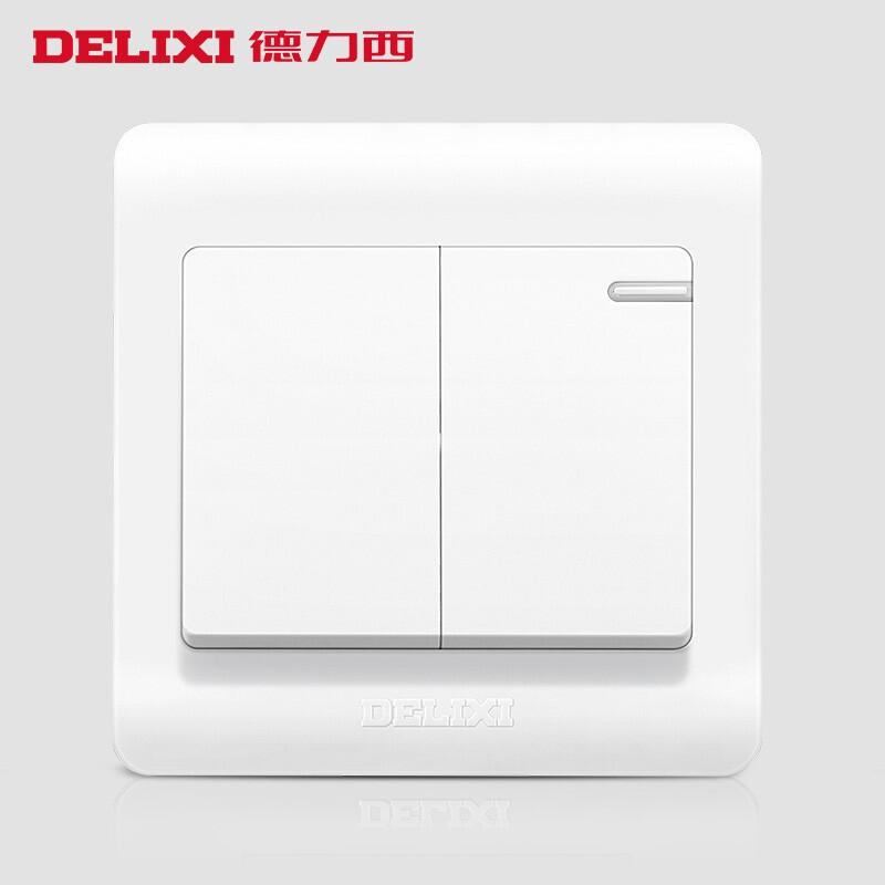 德力西 Q862K1 二位单控荧光大板双联开关 CD210系列 (计价单位:个)