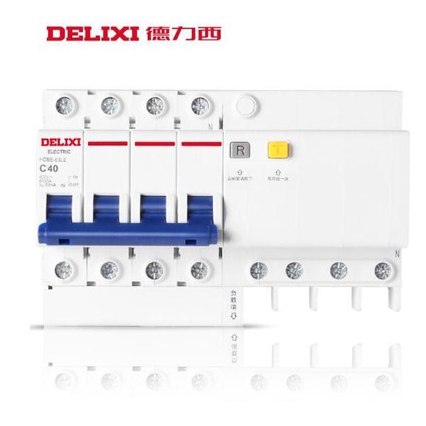 德力西 小型漏保 三相四线漏电断路器 4P漏电 HDBE-40LE 40A