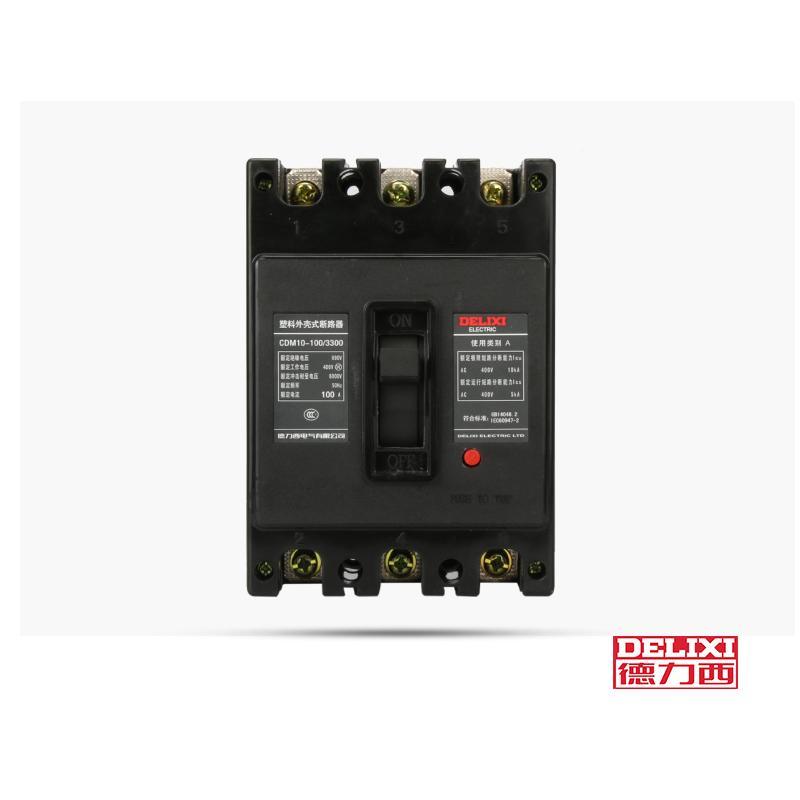 德力西 CDM10 3项100A空气开关 380v三项短路断电器适用于设备短路保护、过载保护 60A