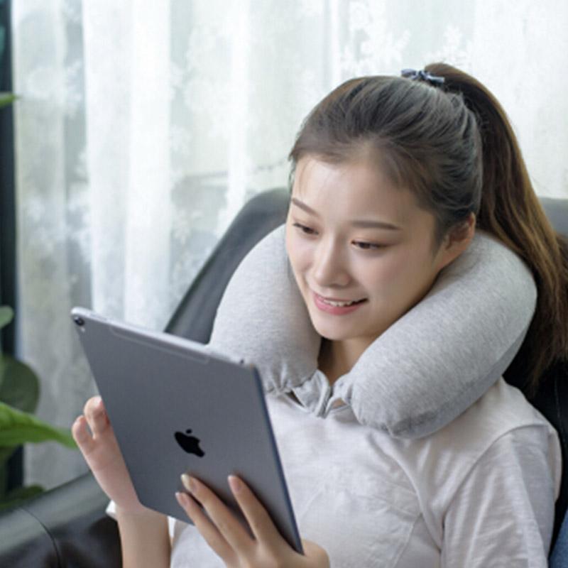 九洲鹿 30*28cm 泰国天然乳胶U型枕 93%乳胶含量 纯棉 深灰色(计价单位:个)