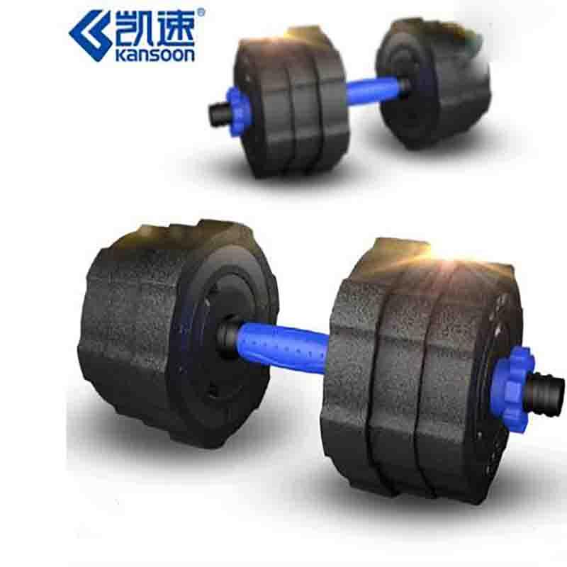 凯速 LHB20 男士健身哑铃 10kg/个 蓝色连接杆45cm 杠铃材质:水泥铁砂混合填充  锻练臂肌家用健身器材