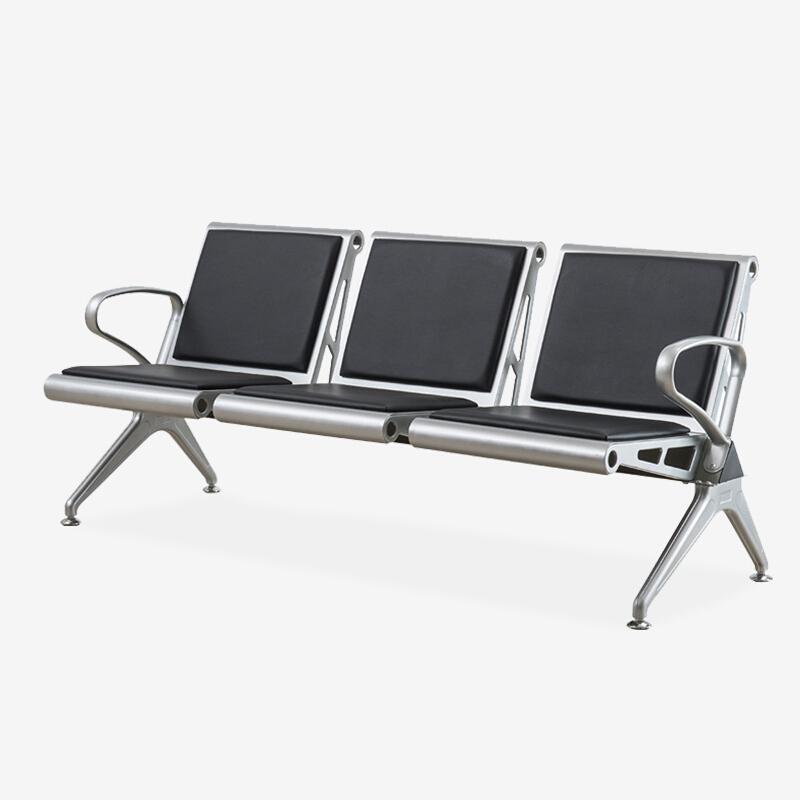 好事达易美 QZ003 钢制椅 连体黑色皮垫 三人位  计价单位:组