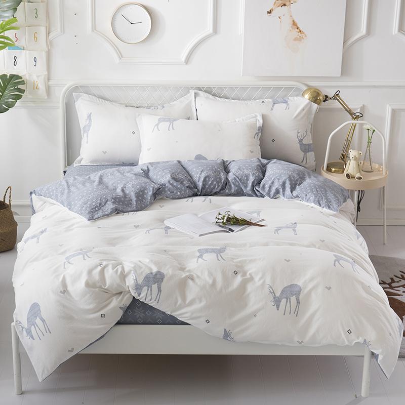 维科家纺 森林鹿 维科水洗棉套件 被套 200*230cm  床单 230*250cm  枕套 48*74cm*2 计价单位:套